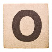 Block with Letter O isolated on white background