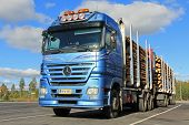 Mercedes Benz Actros Logging Truck With Wood Trailers