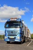 Mercedes Benz Actros Logging Truck With Full Timber Trailers