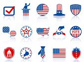 image of election campaign  - color election icons and buttons for USA election design - JPG
