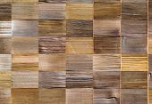 vintage pattern material of cedar wooden decorative background on wall