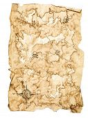 Worn Treasure Map on White Background