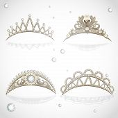 Shining gold tiaras with diamonds and pearls