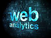 SEO web development concept: Web Analytics on digital background