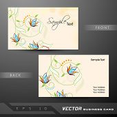 Floral decorated professional and designer business card set or visiting card set. EPS 10.