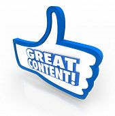 A blue thumb's up symbol with words Great Content to illustrate online features, articles or advice