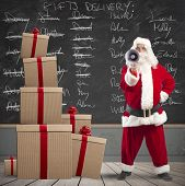 Santa Claus And List Of Gifts Delivery
