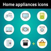 Shopping Home Appliances Flat Icon Set