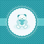 Greeting card with teddy bear for baby boy. Vector illustration.