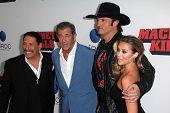 LOS ANGELES - OCT 2:  Danny Trejo, Mel Gibson, Robert Rodriguez, Alexa Vega at the