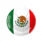 3d soccer ball with mexico flag
