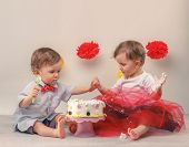 One-year-old twins behind decorated first birthday cake. Smash the cake party.