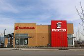 Port Coquitlam - February 26, 2014 : Brend new Scotiabank in Port Coquitlam BC. Canada. The company