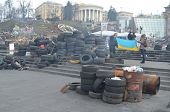 KIEV, UKRAINE -MAR 17, 2014: Downtown of Kiev.Barricades.Rio t in Kiev and Western Ukraine.March 17,