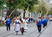 ZURICH - AUGUST 1: Swiss National Day parade on August 1, 2009 in Zurich, Switzerland. Representativ