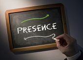 Hand writing the word presence on black chalkboard