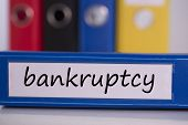 The word bankruptcy on blue business binder