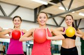 fitness, sport, training, gym and lifestyle concept - group of smiling people working out with stabi