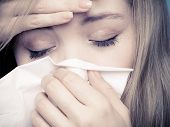 picture of sneezing  - Flu cold or allergy symptom - JPG