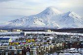 City Petropavlovsk-kamchatsky Against The Background Of Avacha Volcano.