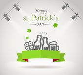 Saint Patricks day greeting card. Photorealistic bright stage with projectors