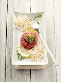 tuna tartar with truffle and soy sprouts