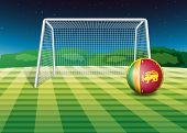 Illustration of a soccer ball near the net with the flag of Sri Lanka