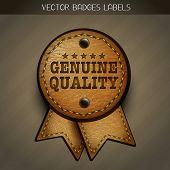 vector leather genuine label illustration