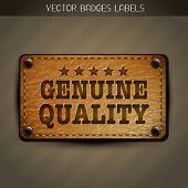 vector genuine quality leather style label design