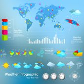 illustration of weather infograph with world map