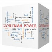 Geothermal Power 3D Cube Word Cloud Concept