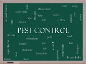 Pest Control Word Cloud Concept On A Blackboard