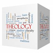 Theology 3D Cube Word Cloud Concept