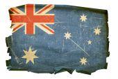 Australia Flag Old, Isolated On White Background.