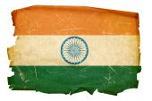 India Flag Old, Isolated On White Background