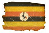 Uganda Flag Old, Isolated On White Background.