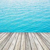 Wood and Blue Sea And Sky Background