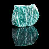Amazonite with reflection on black surface background