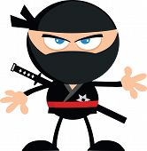 Angry Ninja Warrior Jumping With Katana Flat Design