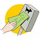 stock photo of poop  - An image of a dog poop bag dispenser - JPG