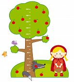 stock photo of little red riding hood  - children meter wall - JPG