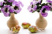Easter eggs with stone vase