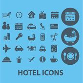 hotel, motel, restaurant, travel icons, signs set, vector