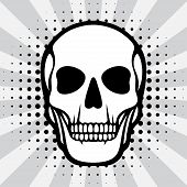 Illustration of skull on pop art background.
