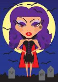 Sexy Halloween Vampire Woman Vector Illustration