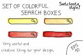 Set of colorful search boxes