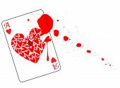 picture of gunshot  - The Ace of Hearts with a bullet hole through the centre and blood and splatter all isolated on a white background - JPG
