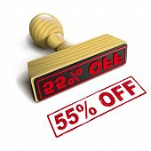 Stamp 55% Off With Red Text On White