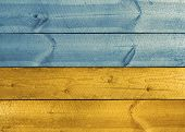 Wooden Planks Ukrainian Flag Colors