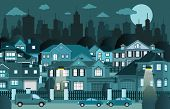 stock photo of suburban city  - Vector illustration of suburban houses in the night - JPG